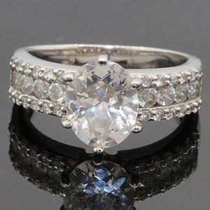 3.00+ CT Oval CZ Engagement Ring Bridal Band White